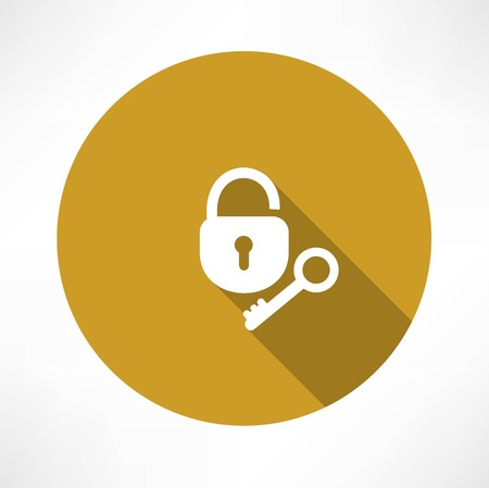 pent: open lock with a key icon Illustration
