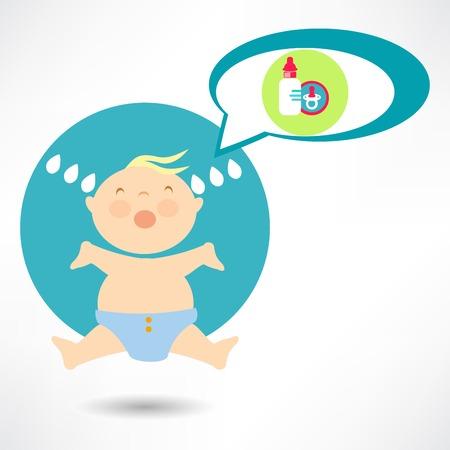 Baby boy crying Ilustração