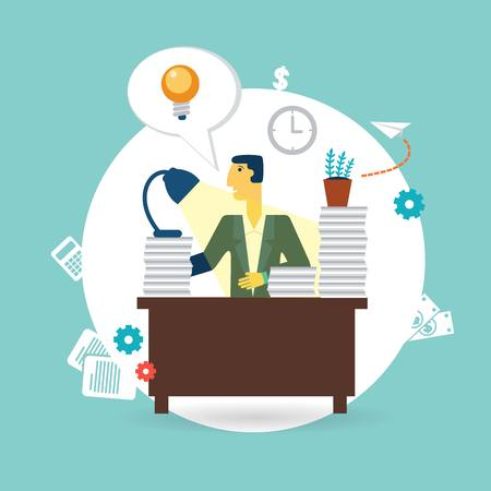 businessman working at his desk illustration