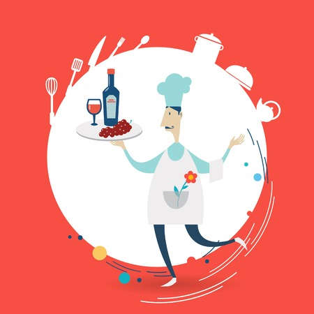 carries: waiter carries wine illustration