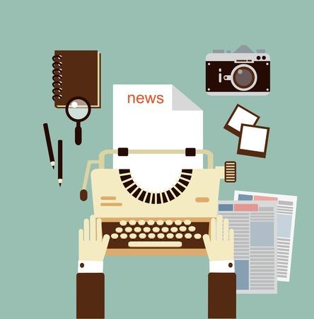 publishes: journalist publishes news on a typewriter   illustration Illustration