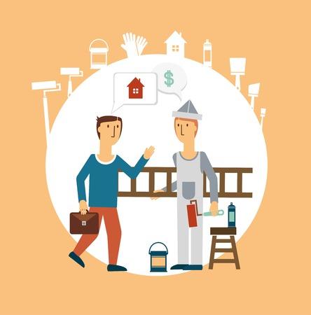 craft man: Painter talking with the customer illustration Illustration
