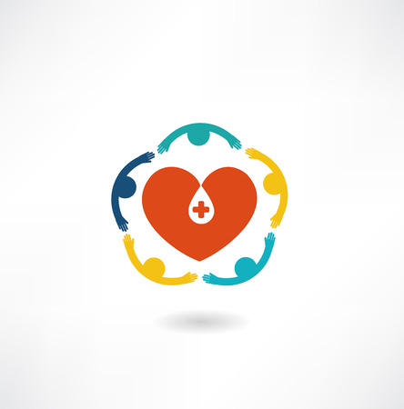 hematology: people embrace the heart icon