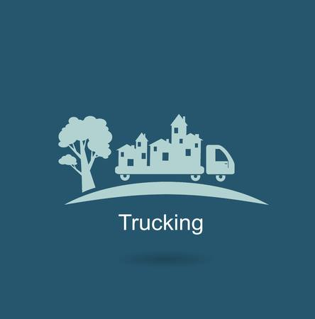 semitrailer: trucking houses icon Illustration