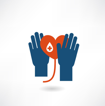 hematology: hands holding the heart donor icon Illustration