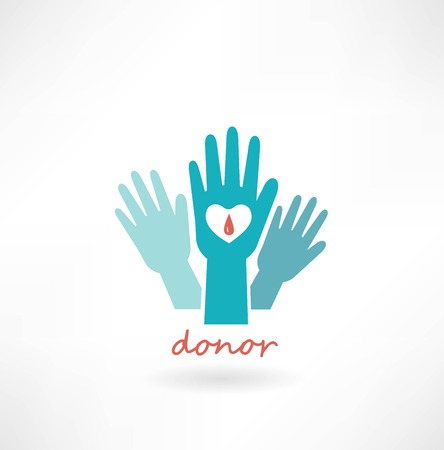 red cross: hand with heart, blood transfusions in the crosshairs icon Illustration