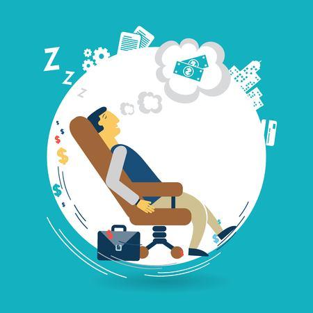 Businessman asleep at work illustration Vector