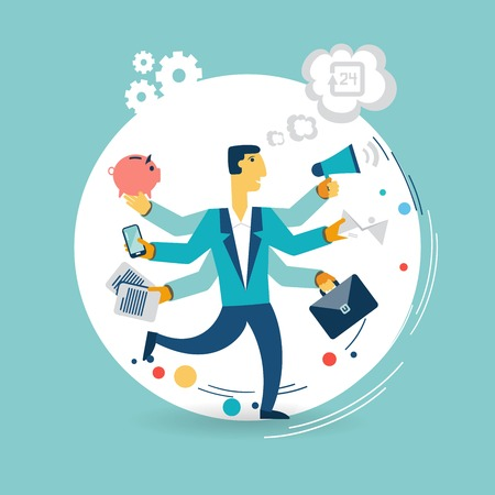 Businessman with many arms does a lot of work illustration Vectores