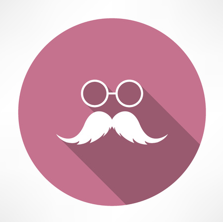 bowler hat: Mustache and Glasses Icon Illustration