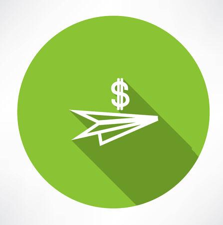 paper plane with dollar icon Illustration