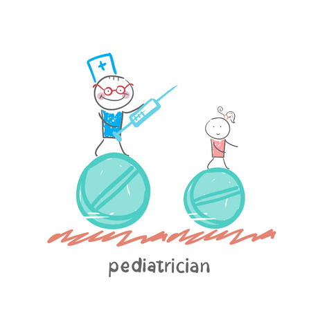 pediatrician: pediatrician pediatrician runs with a syringe Illustration