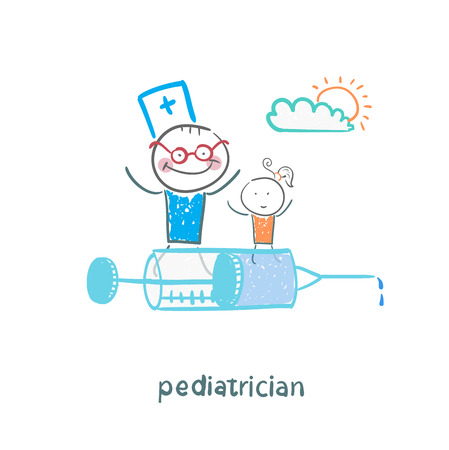 pediatrician is flying on a syringe with a sick child Illusztráció