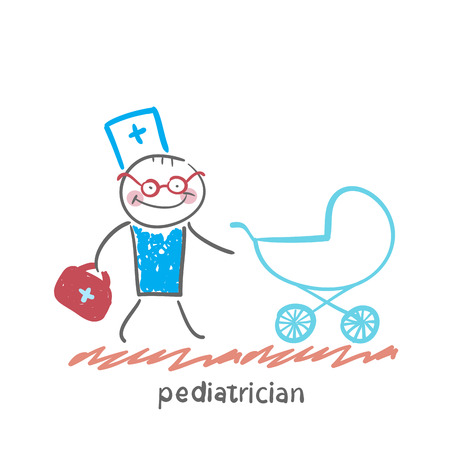 pediatrician: pediatrician came to a sick child in a stroller Illustration