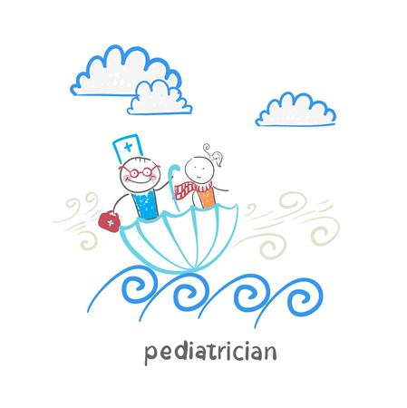 pediatrician: pediatrician with baby sitting in an umbrella and floats on the waves