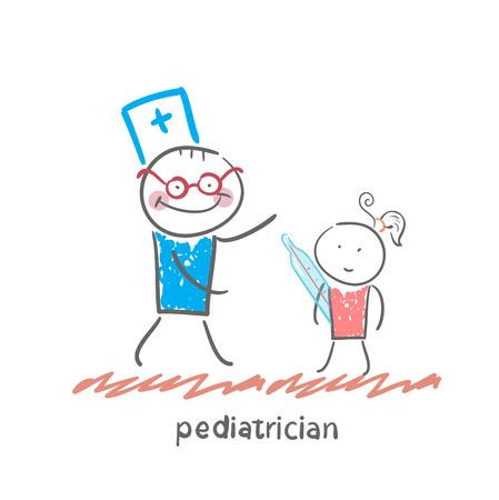 pediatric: pediatrician checks the childs temperature