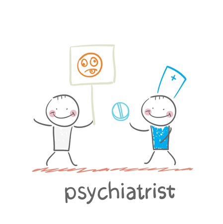 mental work: psychiatrist gives the patient a pill that holds a poster with a smiley