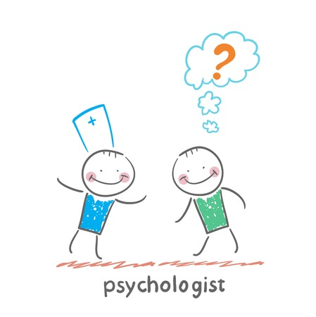 mental work: Psychologist talking to a patient who thinks of a question mark