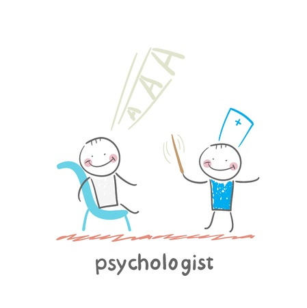 conducts: psychologist conducts a stick, and the patient screams