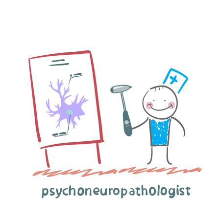 cellule nervose: psychoneuropathologist detiene il martello e dice una presentazione sulle cellule nervose