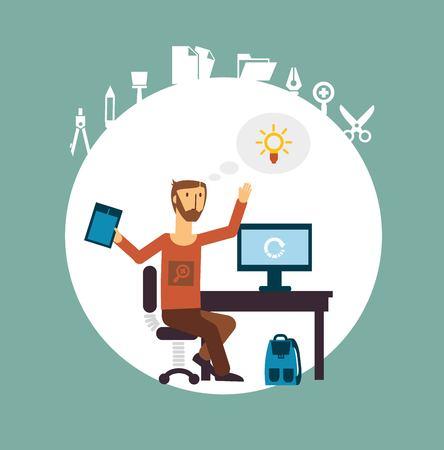 designer working for the computer illustration
