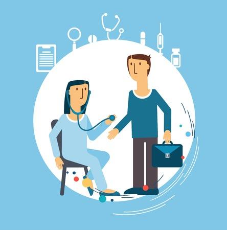 chiropractor: doctor treats the patient illustration