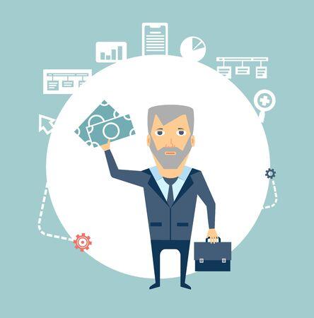 programmer holding money illustration Vector
