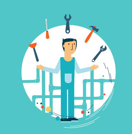 vocational: Plumber at work illustration Illustration