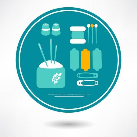 sewing icons set - vector illustration. eps 10 Illustration