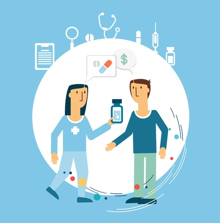 care: doctor treats the patient illustration