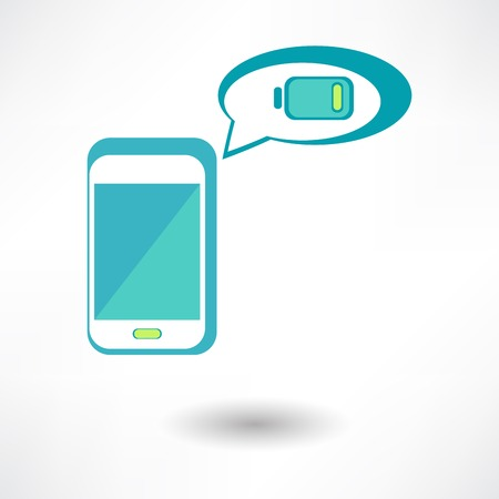 cell charger: isolated man hand holding the phone with low battery on a screen