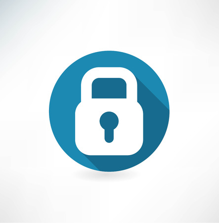 Vector lock icon. Flat design with long shadow