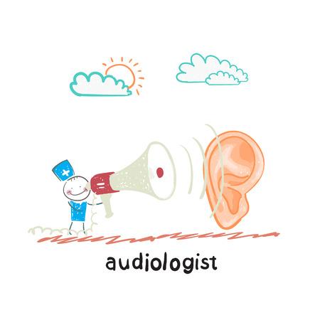 otolaryngologist: otolaryngologist yells into a megaphone on a large ear Illustration