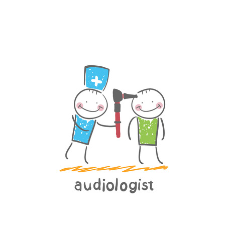 hearing aid: otolaryngologist examines the ear of the patient