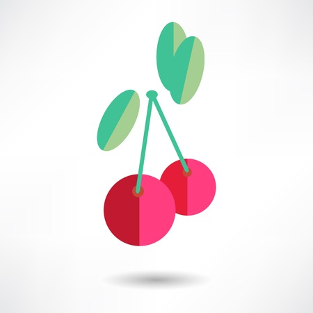red berries: Cherry Icon Illustration