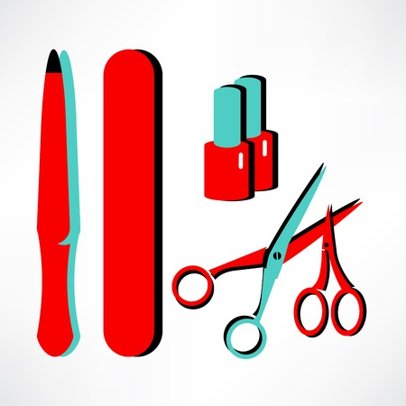 Vector manicure-pedicure set with nails, nail polish, scissors, manicure equipment. Can be used for beauty salon decoration and design, promotion Ilustrace