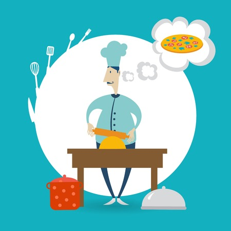 chef prepares dough illustration Vector