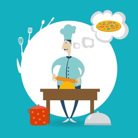 kneading: chef prepares dough illustration