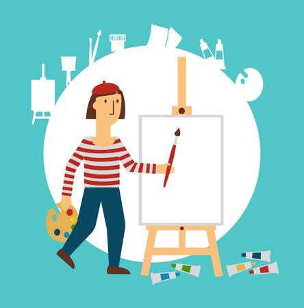 craft man: painter draws illustration Illustration