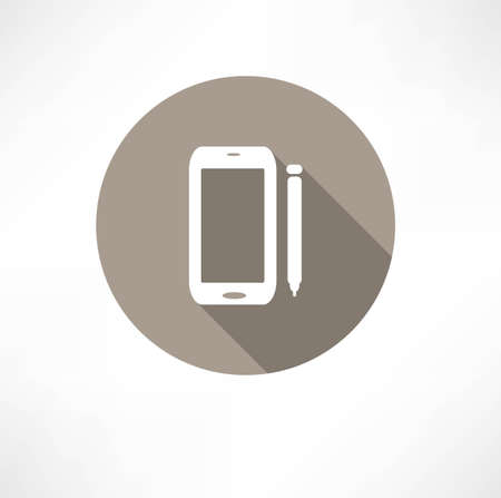 smartphone icon: smartphone with a stylus icon Illustration