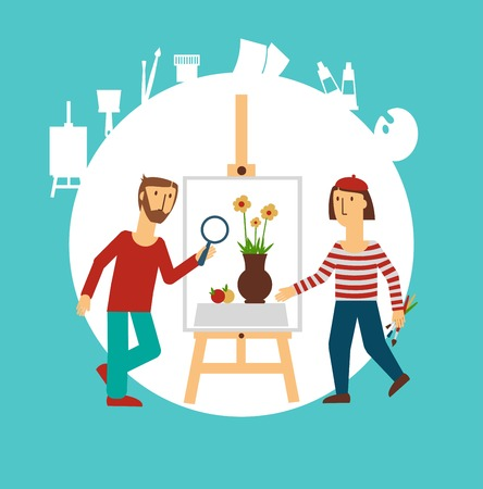 painter painting for sale illustration Vector