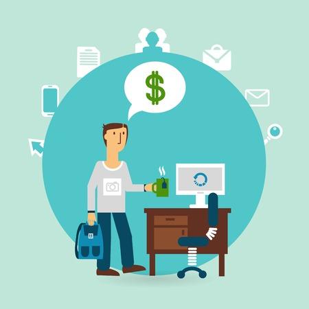 salary man: office worker thinking about money illustration