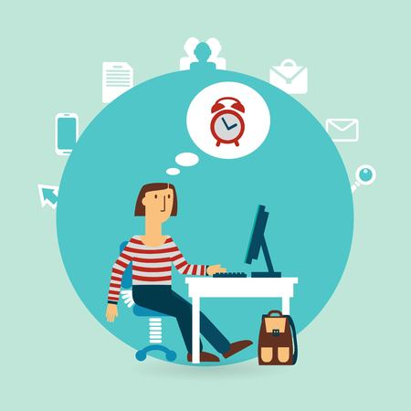 office worker thinking about time illustration Stock Illustratie