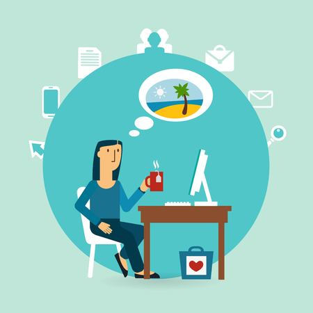 office worker thinking about the beach illustration