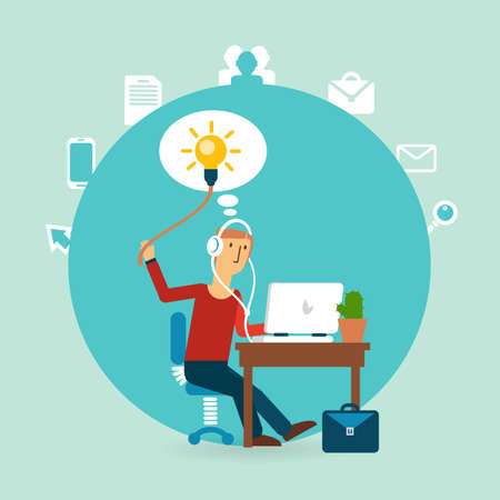 office worker with an idea illustration