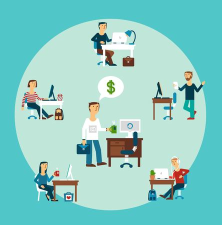 briefing: office workers illustration Illustration