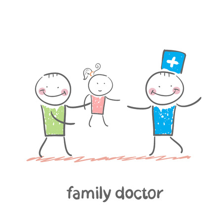 healthy kid: family doctor treats her mother with a child