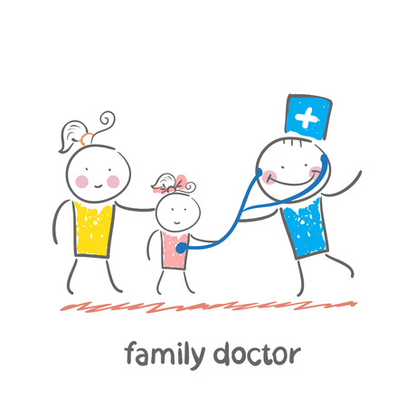 family doctor treats her mother with a child Vector Illustration