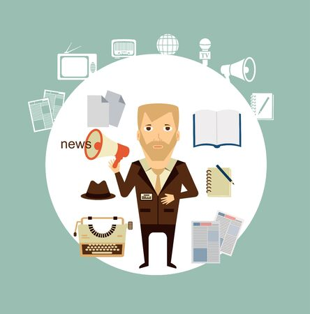 journalist says news speaker illustration Vector