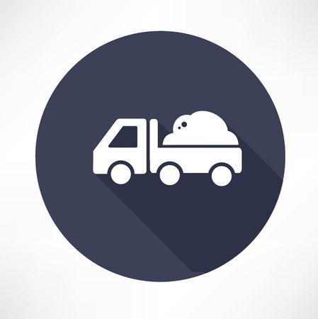 tipper: truck with the ground icon