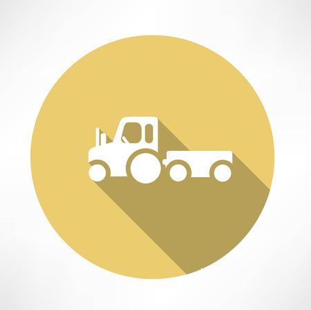 chaume: tracteur avec remorque ic�ne